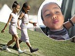 Kim Kardashian's mini-me North West, 5, boogies at father Kanye West's Sunday Service Coachella set