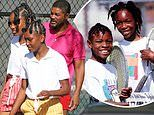 Will Smith shoots scenes with his on-screen daughters playing Venus and Serena Williams