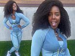 Kelly Rowland shows off her incredible post-pregnancy bod in blue. one month after giving birth