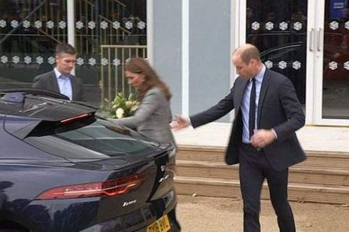 Prince William's sweet gesture after Kate trips up as they leave charity event