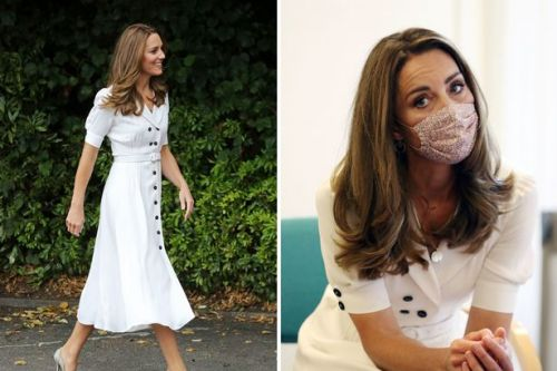 Kate Middleton stuns in white dress while sporting floral face mask at baby bank