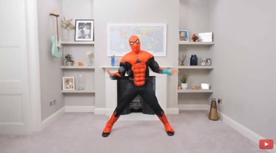Joe Wicks channels Spider-Man for epic fancy dress PE class as 500,000 tune in: 'Even Spidey gets tired'