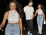 Jesy Nelson flashes her toned abs as she celebrates first anniversary with Chris Hughes
