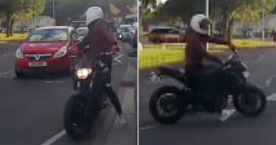 Biker with illegal 'CYA L8R' number plate wanted by police for endangering public