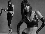 Bella Hadid showcases her abs in two skin tight black outfits for Helmut Lang's pre-fall campaign