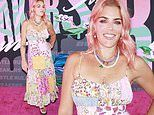 Busy Philipps looks bright and beautiful in a colorful patchwork dress at the Rule Breakers Festival