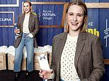 Rachel Brosnahan keeps it casual in jeans and a blazer as she receives the IMDb award at Sundance