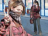Paris Jackson flashes a peace sign and rocks a comfy and casual look while heading into a P