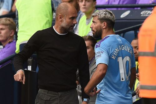 Sergio Aguero and Pep Guardiola involved in blazing row on sidelines during Tottenham clash