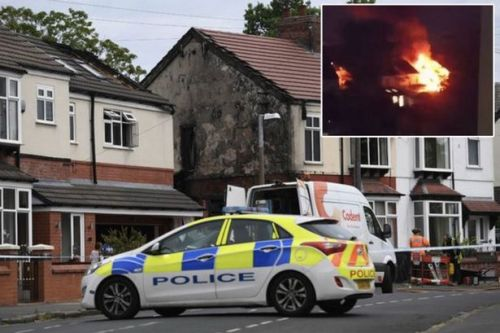 Dramatic moment huge fire rages through family home but kids somehow escape unharmed