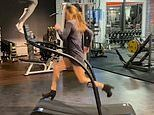Fitness fanatic, 34, takes to a treadmill in HIGH HEELS and a dress