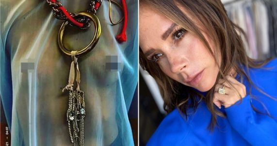 Victoria Beckham teases new fashion collection with striking image of model's bare breasts in sheer top