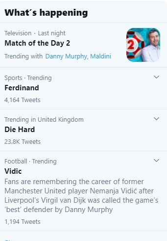 Legendary Man Utd duo trend on Twitter as many fans respond to Virgil van Dijk comments from ex-Liverpool star