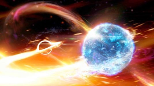 Black hole gobbles neutron star, belches gravity waves