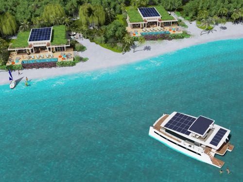 This yacht maker's concept resort uses solar-powered electric catamarans as 'floating villas'