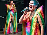 Saara Aalto dons eye-catching rainbow flag inspired leotard at star-studded Manchester Pride