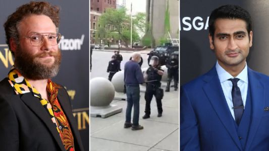 Seth Rogen and Kumail Nanjiani lead celebrities condemning Buffalo police officer as elderly man is left bleeding on pavement after being pushed during George Floyd protest