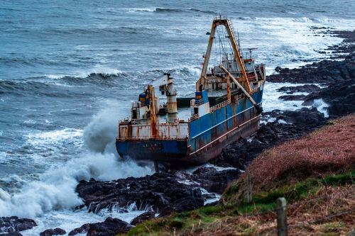 'Ghost' ship washes up on Irish coast during Storm Dennis