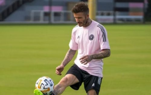 Photo: David Beckham still looks like a star as he joins in with Inter Miami training
