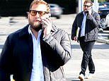 Jonah Hill has a serious conversation on his cell phone in LA