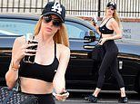 Selling Sunset 'villain' Christine Quinn shows off her fit figure in sports bra and leggings