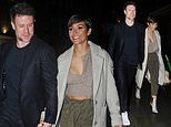 Frankie Bridge and husband Wayne enjoy a rare night off from parenting duties on dinner date