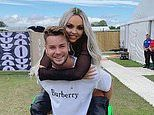 Little Mix's Jesy Nelson is treated to a piggy-back ride from her supportive beau Chris Hughes