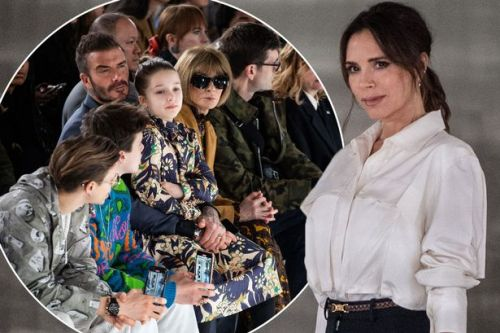 David Beckham and kids beam with pride as they support Victoria at London Fashion Week