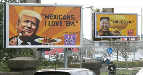 Anger as 'racist' Kim Jong Un billboard is replaced with Donald Trump sign