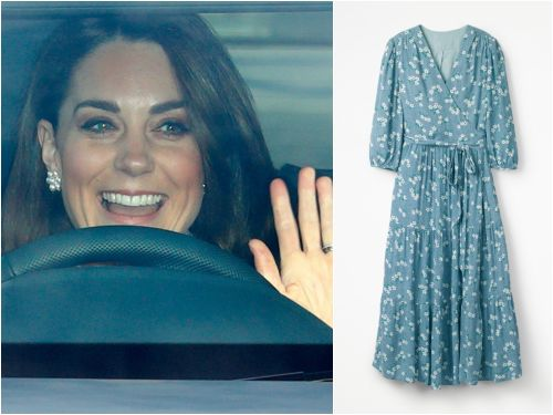 A $90 floral wrap dress sold out online after Kate Middleton wore it for the Cambridge family's Christmas card