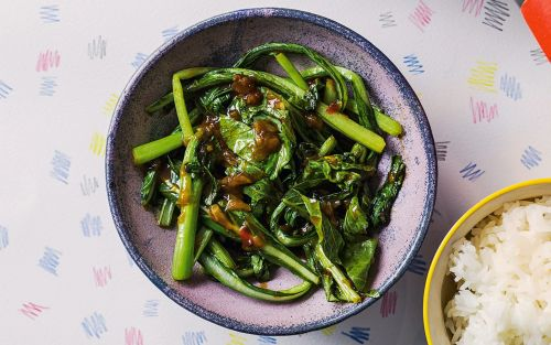 Stir-fried greens with yellow beans and chilli recipe
