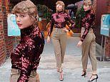 Taylor Swift sparkles in crimson sequined turtleneck to perform at Grand Ole Opry for ACM Awards