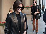 Kaia Gerber is classically chic in a leather blazer and suede flares