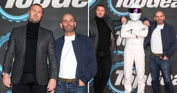Paddy McGuinness and Chris Harris rub shoulders with The Stig without co-host Freddie Flintoff for Top Gear premiere