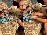 Twins terrified by their father after he shaves for the first time