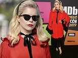 Paloma Faith shows off her quirky fashion style in a bold red and black midi dress at Comic Con