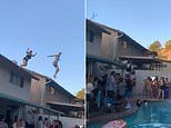 Horrifying moment woman slams into patio shelter as she tries to jump from rooftop into a pool