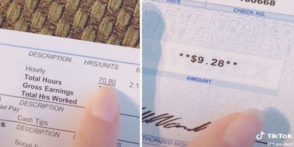 A bartender is calling out the service industry for low wages with a viral TikTok of her $9 paycheck for 70 hours of work