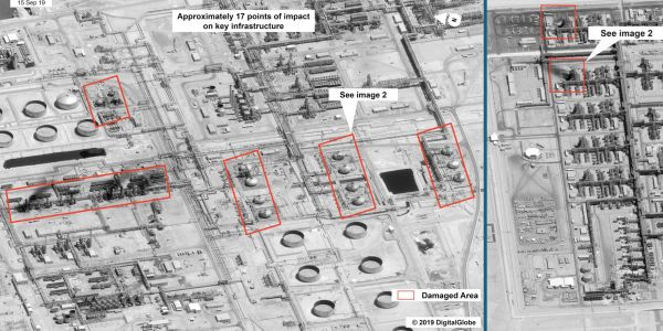 Satellite photos show scale of destruction at Saudi oil field hit by drone attacks which put global markets in chaos