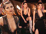 Blanca Blanco looks sultry in low-cut dress while posing in the desert of Marrakech