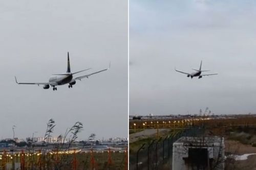 Ryanair plane aborts landing in video showing it blown sideways by Storm Gloria