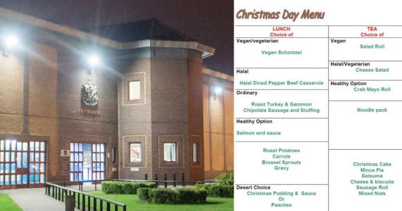 Britain's highest security jails reveal what's on the menu for inmates on Christmas Day