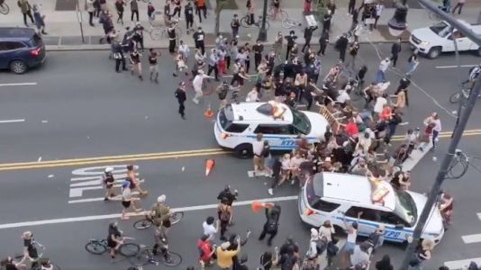 Moment NYC cops plow through crowd of George Floyd protesters with SUV