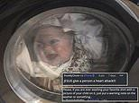 Father terrified after stumbling across T-shirt with his baby's face on in washing machine
