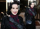 Dita Von Teese, 47, looks effortlessly chic in a black coat and opera gloves at Paris Fashion Week