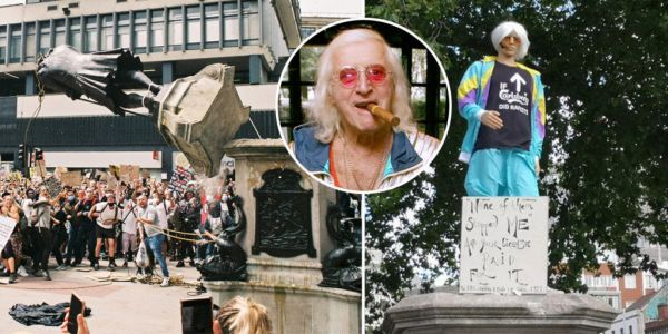 Jimmy Savile mannequin replaces toppled statue of slave trader Edward Colston in Bristol