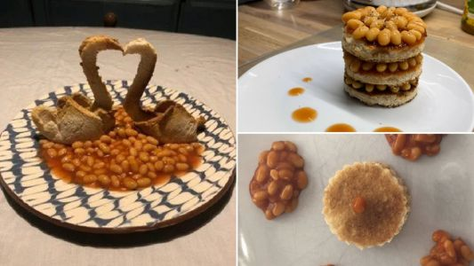 Bored students make fine-dining plates of food - out of baked beans