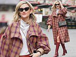 Ashley Roberts looks effortlessly chic in a chequered coat as she leaves Heart Radio