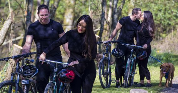 Katie Price's ex Kieran Hayler plants kiss on fiancee Michelle Penticost during sunny bike ride