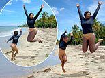 Serena Williams shares snaps of her and daughter Olympia wearing the same swimsuit on beach holiday